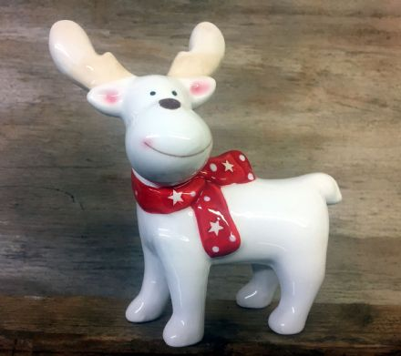 Cute Baby Reindeer Polished Glazed Ceramic Ornament with Bow